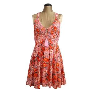 Free People Floral Print mini dress PINK Orange M